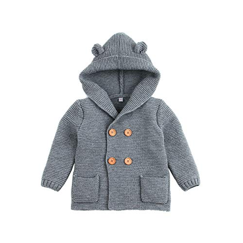 mimixiong Baby-Jungen Strickjacke Cardigan mit Kapuzenpullover Hoodie Sweatshirt(Grau,0-6 Monat)