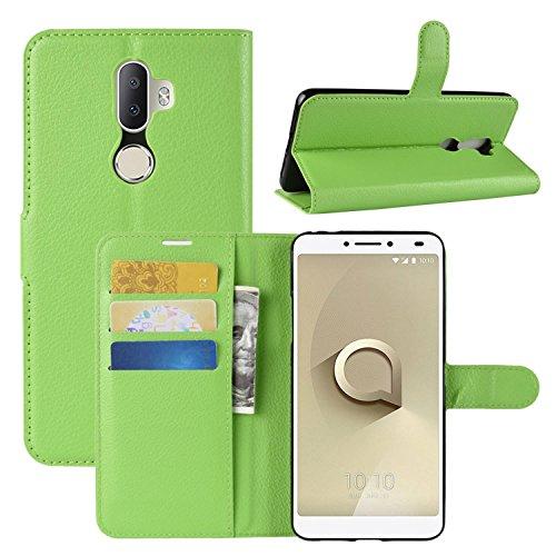 HualuBro Alcatel 3V Hülle, Leder Brieftasche Etui LederHülle Tasche Schutzhülle HandyHülle [Standfunktion] Handytasche Leather Wallet Flip Hülle Cover für Alcatel 3V (Grün)