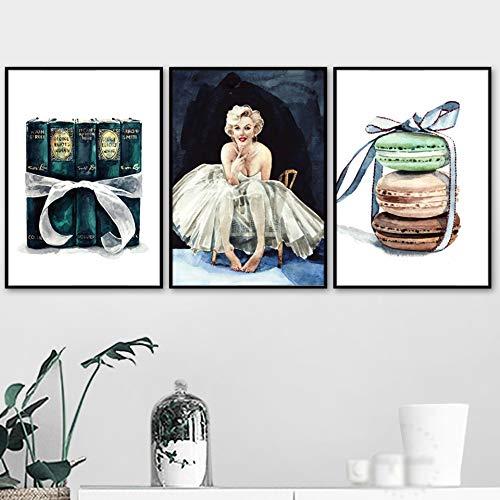 Geiqianjiumai Decoratie Mooie meisjesgeschenkdoos brood Scandinavische stijl afdrukken canvas afbeelding aquarel poster slaapkamer modulair zonder frame
