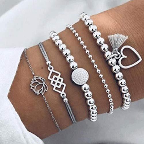 Yean Boho couches Bracelet perles chaîne main avec pompons argent à la main Coeur Bracelets pour les femmes et les filles (5 pièces)