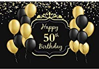 新しい2.1x1.5mVinyl誕生日の背景50歳の誕生日の背景ゴールドブラックスパンコールバルーン背景Fotografia子供のパーティー用