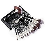 Anjou - Juego de 12 brochas de maquillaje esenciales para base, rubor, contorno, corrector, delineador de ojos, sombra de ojos, cerdas de fibra sintética, bolsa impermeable incluida