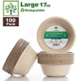GreenTree 100% Biodegradable 17 oz. Disposable Bowls [100 Pack]   Paper Bowls Substitute   Large Eco Friendly Bowl   Bagasse Bowl Made with All Natural Sugarcane   Microwave Safe Bowl