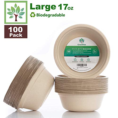 GreenTree 100% Biodegradable 17 oz. Disposable Bowls [100 Pack] | Paper Bowls Substitute | Large Eco Friendly Bowl | Bagasse Bowl Made With All Natural Sugarcane | Microwave Safe Bowl