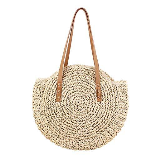 CSPone | Strohtaschen Damen Strand, Korbtasche geflochten rund, Körbe geflochten, Einkaufskorb geflochten, Bastkorb, Umhängetasche, Handtaschen