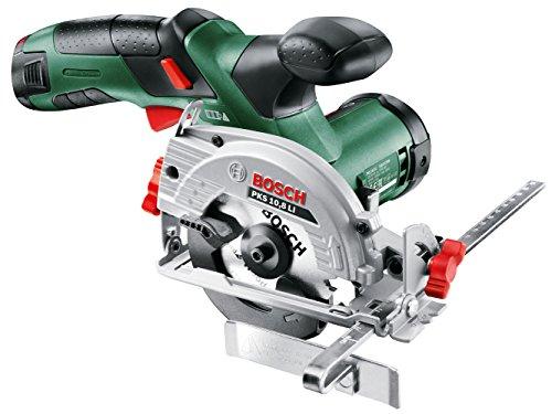 Bosch DIY mini-handcirkelzaag oplader, zaagblad voor hout, adapter voor stofzuiger, parallelaanslag, cirkelzaagbladdiameter PKS 10,8 LI - 1 accu (2,0 Ah) 25,4 cm zwart, groen, grijs.