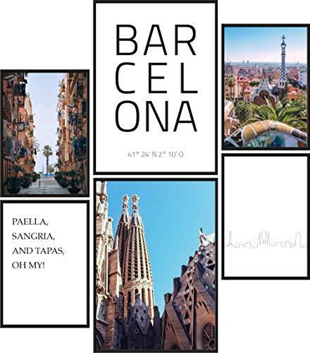 Papierschmiede® Mood-Poster Set Barcelona   Cuadros como decoración de Paredes   Living y Dormitorio   2X A3 y 4X A4   España Cataluña Ciudad - sin Marco