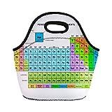 SHETYLE - Bolsa de almuerzo aislada con tabla periódica de los espectáculos, símbolo de número atómico, para picnic, comida, bolsa de almuerzo, para hombres, mujeres y niños