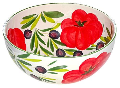 Lashuma Servierschale rund 26 cm, Italienische Keramik Schüssel Tomate - Olive, Große Salatschale handgefertigt
