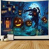 YTLSA tapizLámpara de Calabaza de Halloween Tapiz Colgante de Pared Hippie Castillo mágico Fantasma Manta de Pared Decoración Horrible Diablo Colcha Estera