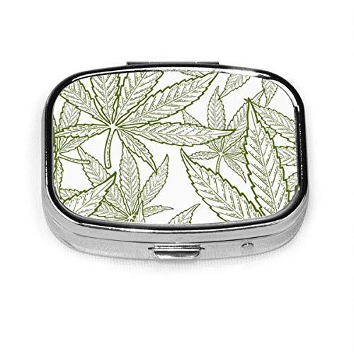 Pastillero cuadrado con diseño de hojas de marihuana dibujadas a mano, caja de decoración