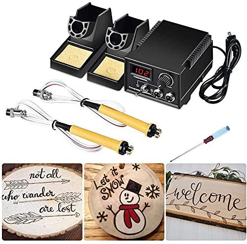 HUKOER 60W 110-240V Pyrographie-Maschine, Holzschnitzwerkzeug-Kit mit doppeltem Profistift, einfache Bedienung Pyrographie-Bastelset Holzverbrennung