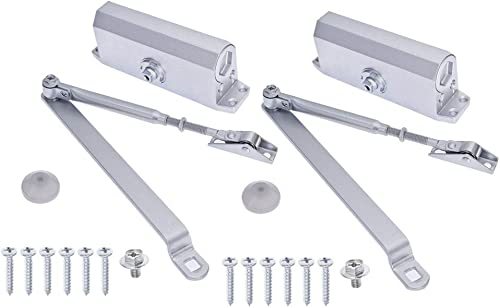 popular 2 discount Pack Commercial Door Closer Aluminum Alloy Two Independent Valves Control popular Adjustable Fire Rated Overhead Door Opener Closer Soft Close for Home Hotels Guesthouses and Other Room Doors (2pc 45-65kg) outlet online sale
