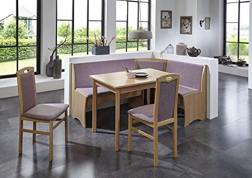HOWE-Deko Truhen-Eckbankgruppe, Buche Natur Dekor; Eckbank, 2 Stühle und Vierfußtisch; Bezug: Flachgewebe rosa; variabel aufbaubar