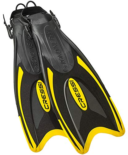 Cressi Snorkeling Adjustable Fins - Long Versatile Open Heel Flippers - Palau LAF Made in Italy by Quality Since 1946