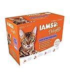 iams delights - multipack, alimento umido per gatti adulti, gusti assortiti sapori di terra e mare in gelatina - 12 bustine da 85 gr