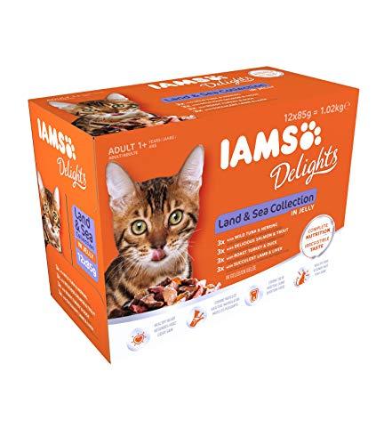 Iams Delights Land & Sea Collection Katzenfutter Nass - Multipack mit Fleisch und Fisch Sorten in Gelee, Nassfutter für Katzen ab 1 Jahr, versch. 12 x 85g