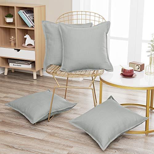 Deconovo 4er Pack Kissenbezüge Kissenhüllen Kissenbezug Leinenoptik für Sofa mit Reißverschlüsse 40x40 cm Grau