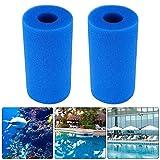 Esponja de filtro Gobesty, 2 unidades, filtro de piscina reutilizable lavable filtro de espuma esponja de medios para acuario peces tanque estanque filtros (azul, 10 x 4 x 20 cm)