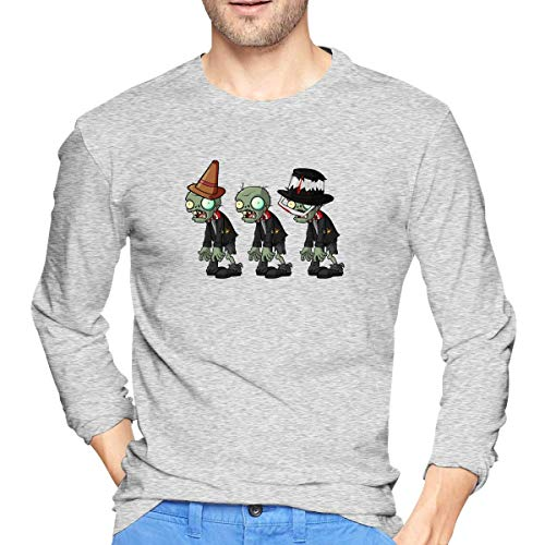 Plants Vs. Zombies Men's Cotton Long Sleeve Round Neck Fashion T-Shirt Suitable for Spring and Autumn