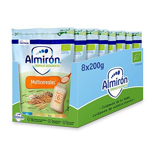 Almirón Cereales Infantiles Ecológicos Multicereales. Pack Bolsas X200G- 1.6Kg, 8 Unidades