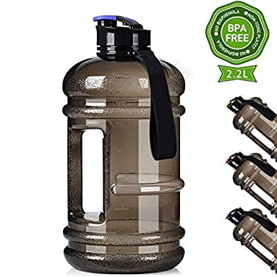 Dishwasher Usable Large 2.2L Water Jug Big Reusable Sports Water Bottle 75oz Half Gallon Hydro Container Canteen BPA Free Leak-Proof for Gym Fitness Athletic