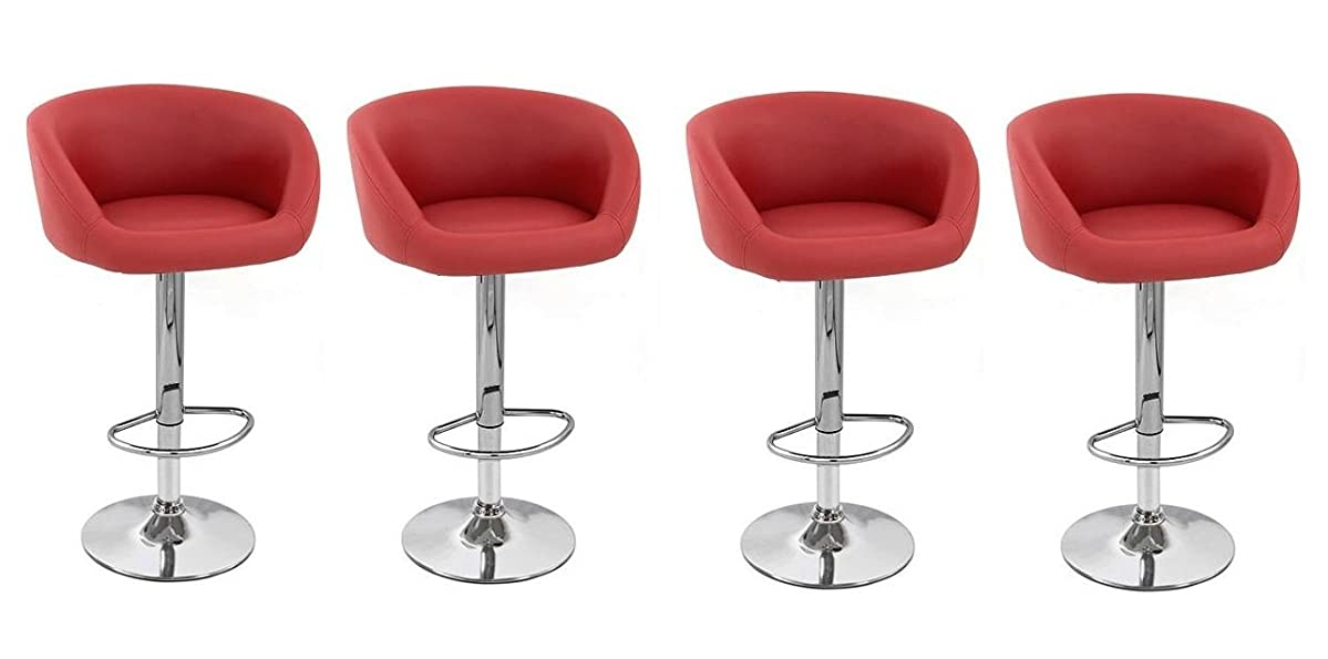 South Mission ISU Synthetic Leather Adjustable Bar Stool (Set of 4) (Red)