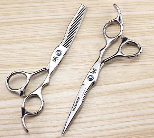 JKCKHA Tijeras de peluquería de zafiro de 6 '' Tijeras de corte de peluquería Tijeras de adelgazamiento
