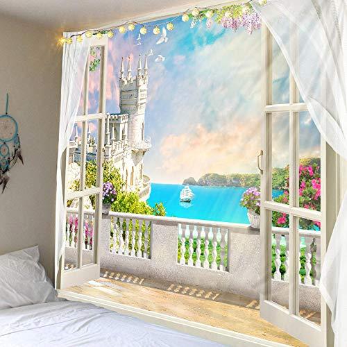 Gartenteppich außerhalb des Fensters, Weihnachtsdekoration, Hintergrundwanddekoration Hängendes Tuch, (59X79 Zoll) (150X200Cm)