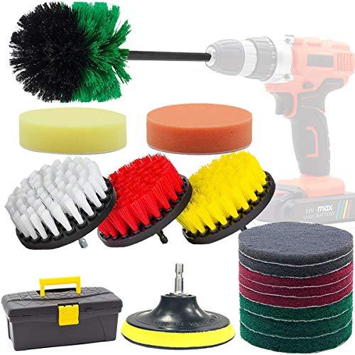 電動ブラシ ドリル GOH DODD 電動掃除用ブラシ バラエティ 18点セット スクラブパッド アタッチメント付き お風呂、カーペット、キッチン、タイルなどの掃除用