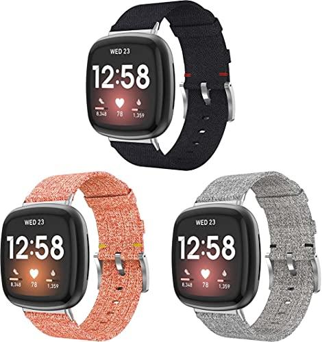 Chainfo Reloj Bandas Compatible con Fitbit Versa 3 / Fitbit Sense – elección de Color, Longitud y Anchura – Correas de Nailon (3-Pack H)