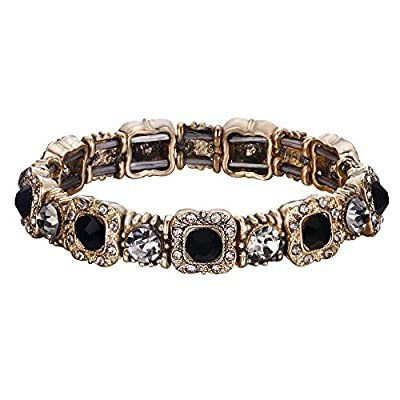 EleQueen Women's Austrian Cystal Wedding Bridal Elegant Tennis Bracelet Jewelery for Brides Black
