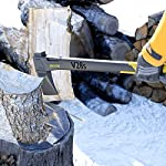 LEXIVON V28s splitting Axe, 28-Inch Lightweight Fiber-glass Composite Handle & Ergonomic TPR Grip | Protective Carrying Sheath Included (LX-V28s) 17 INNOVATIVE DESIGN - Fully encased over-molded blade. Hi-Tech fiberglass composite injected handle, featuring reinforced back spine & non-slip TPR grip. DURABLE - Drop-forged & heat-treated Grade A High-Carbon steel, meticulously hardened cutting edges provides a deeper and cleaner contact. SPLITTING - Wedge-shaped blade profile gives efficient one-strike splits, Perfect for splitting medium to large-sized fireplace logs.