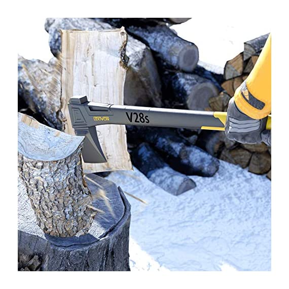 LEXIVON V28s splitting Axe, 28-Inch Lightweight Fiber-glass Composite Handle & Ergonomic TPR Grip | Protective Carrying Sheath Included (LX-V28s) 7 INNOVATIVE DESIGN - Fully encased over-molded blade. Hi-Tech fiberglass composite injected handle, featuring reinforced back spine & non-slip TPR grip. DURABLE - Drop-forged & heat-treated Grade A High-Carbon steel, meticulously hardened cutting edges provides a deeper and cleaner contact. SPLITTING - Wedge-shaped blade profile gives efficient one-strike splits, Perfect for splitting medium to large-sized fireplace logs.