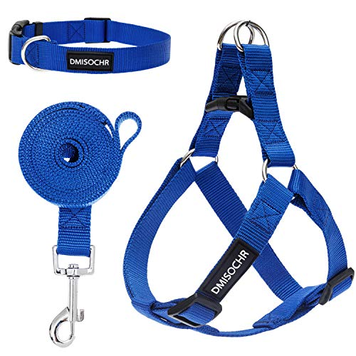 DMISOCHR Dog Harness and Leash Set with Collar - Blue Step-in Adjustable No Pull Safe Doggy Harness - Soft Nylon H-Shape Full Body Harness - Easy Walking Control for Small, Medium, Large Dogs