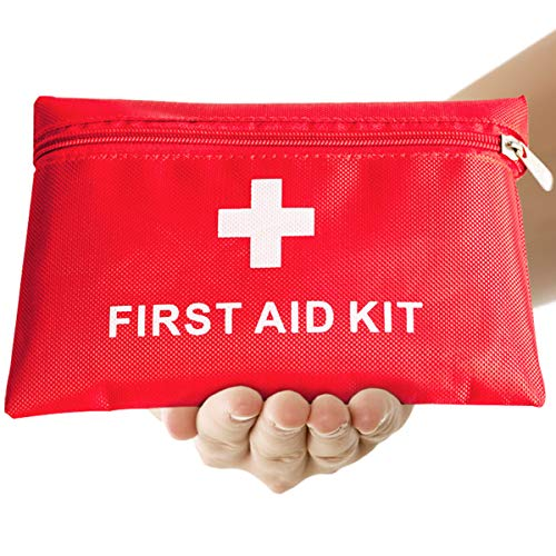 Trousse de Premier Secours 14 Articles, Rouge Semi-Rigide Mini Box Sac d'urgence Médical Imperméable Les Activités Extéreures Premiers Secours Domestiques JAANY