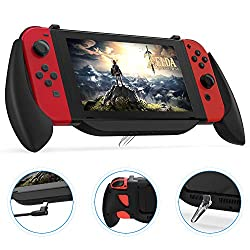 ✨【Charge and Play GripCase Kit for Nintendo Switch】---This grip case designs a mini detachable stand for your Nintendo Switch to stand on the desk so that you could play the game while charging. Comes with a 1-meter right-angle Type-C charging cable,...