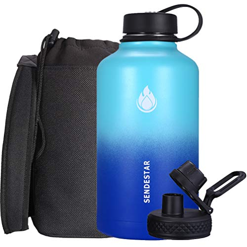 SENDESTAR Stainless Steel Water Bottle-12oz, 24oz, 40oz or 64oz with New Straw Lid or Spout Lid Keeps Liquids Hot or Cold with Double Wall Vacuum Insulated Bottle (64 oz-Mint/Cobalt)
