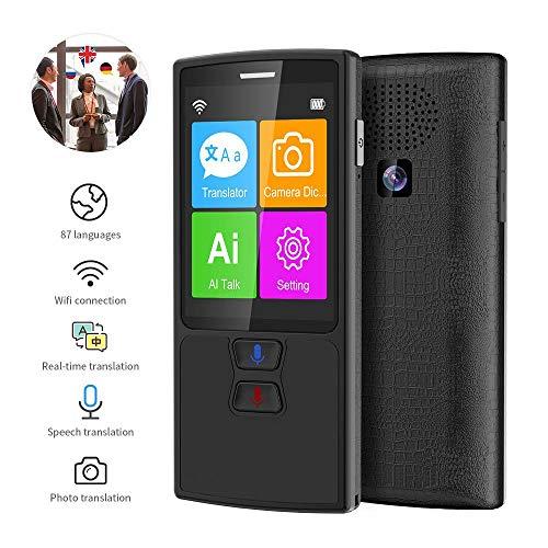 MOGOI Sprache übersetzer Ausrüstung,AI Smart Sprachübersetzer Device,WiFi/Offline-Sofortübersetzung,2.4 -Zoll-Touchscreen-Unterstützung 87 Sprachen Pocket Voice/Text/Foto-Übersetzung,Schwarz