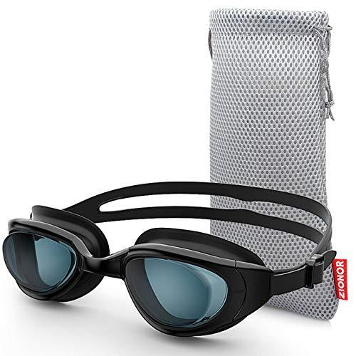 ZIONOR G7 Gafas de Natación Correctoras con Miopía Óptica y Visión Nocturna, Sin Fugas, Protección UV 100% para Hombres y Mujeres, Natadores Adultos (Dioptría de 2,0 a 7,0)