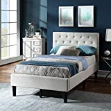 Twin Size Upholstered Linen Platform Bed Frame with Button Tufted Headboard, Strong Wood Slat Support, Mattress Foundation, No Box Spring Needed, Easy Assembly, Beige