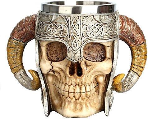 Touker Viking Drinking Mug Realistic Ram Horn Skull Beer Mug Stainless Steel Double Handle Medieval product image