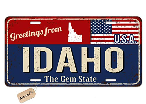 """Amcove License Plate Greetings from Idaho Vintage Rusty Metal Sign with American Flag Automotive high Gloss Metal License Plate, Aluminum License Plate, Front License Plate - 6"""" x 12"""" inch"""