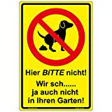 Schild'Hier BITTE nicht!' Hinweisschild 300x200 mm keine Hundetoilette,gelb, stabile Aluminiumverbundplatte 3mm stark