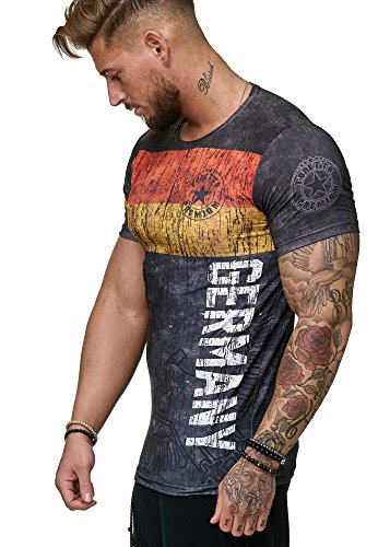 Herren T-Shirt Flag Slim Fit - Alemannia Deutschland Germany WM 2018 WC Weltmeisterschaft World Cup Deutschland 1007 L