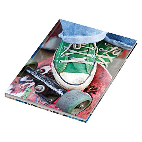 4 stuks notitieboek/kladboek, blanco skater, DIN A5, met harde kaft, 96 vellen, notitieboekje, dagboek, schrijfboek