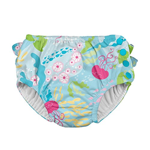 i play. by green sprouts Girls' Ruffle Snap Reusable Absorbent Swimsuit Diaper, Aqua Coral Reef, 6mo
