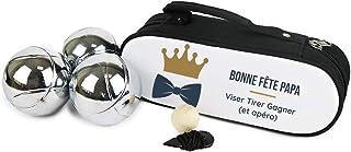 Cadeaux.com Sacoche de Pétanque Personnalisable avec Triplette de Boules de pétanque - Sacoche Noire et Solide, Lot de 3 B...