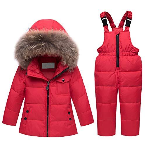 LPATTERN Baby/Kleinkind Jungen/Mädchen Winter 2tlg Bekleidungsset Schneeanzug Skianzug Zweiteiler Winteranzug(Daunenjacke mit Fellkapuze+ Daunenhose/Latzhose), Rot, 98/104(Label: 110cm)