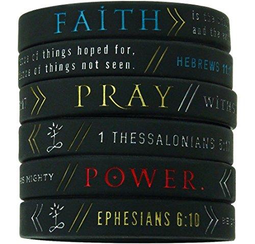(6-pack) 'Faith, Power, & Pray' Bible Wristbands - Hebrews 11:1, Ephesians 6:10, & 1 Thessalonians 5:17